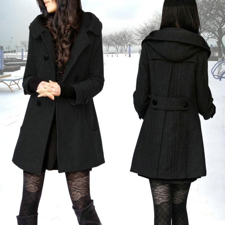 6c52e3563fe Winter Thick Wool Woolen Overcoat Female Hooded Woolen Jacket Slim Fit  Slimming Large Size Trench Coat