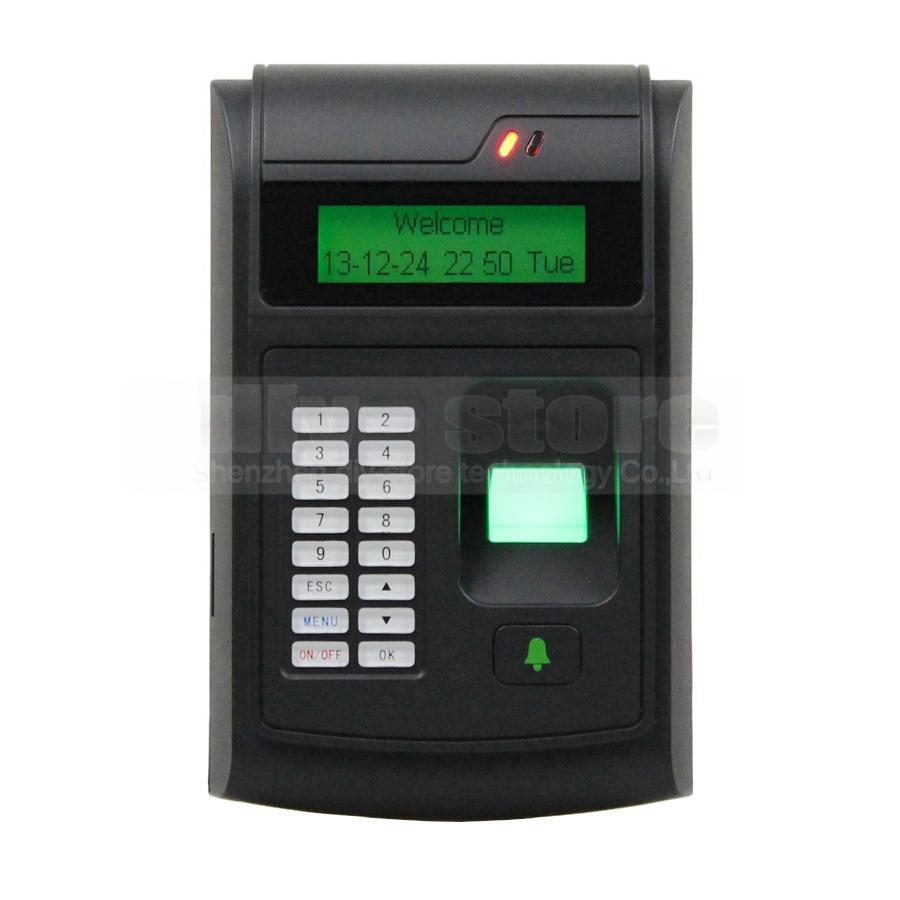 DIYSECUR LCD Biometric Fingerprint PIN Code Door Lock Access Control + 125KHz RFID ID Card Reader Keypad USB / Door Bell Button