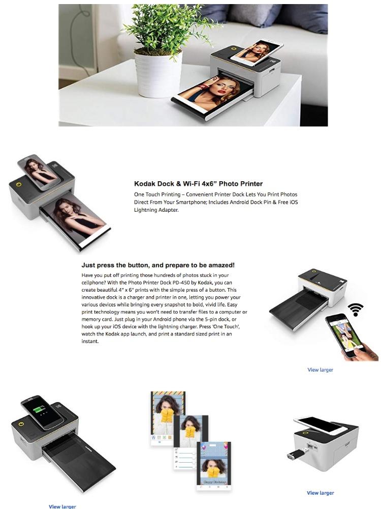 Kodak Dock Wi Fi Portable 4x6 Instant Photo Printer Premium