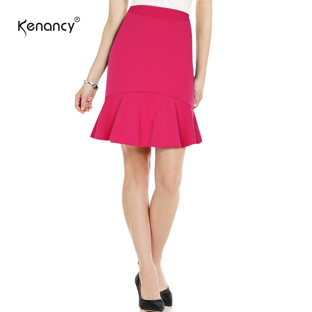 Kenancy Elegant Hip Skirt Women Solid Color Lotus Hem Sheat Skirt Female Party Work Wear -