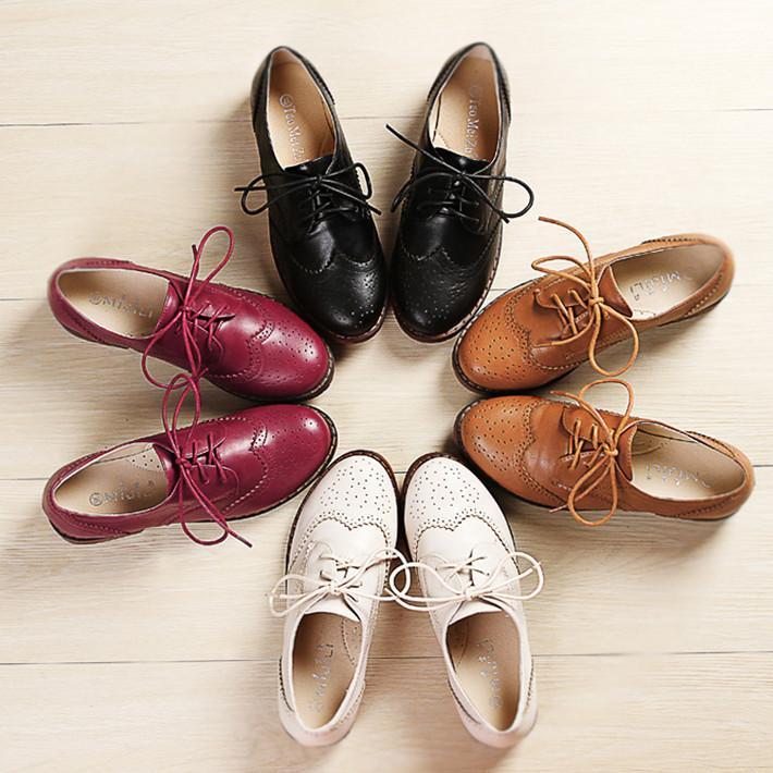 Setiap Hari Harga Spesial musim semi dan musim gugur ala Inggris Hak Tebal sepatu lapisan tunggal Retro sol datar putih Sepatu Kulit Gaya Kampus BULLOCK ukuran besar perempuan