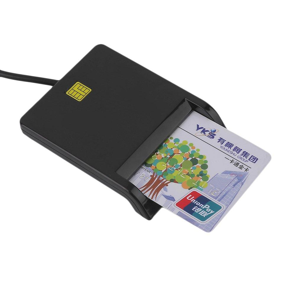 QNSTAR USB Smart Card Reader IC / ID Card Reader Plug And Play For PC Card Adapter Black
