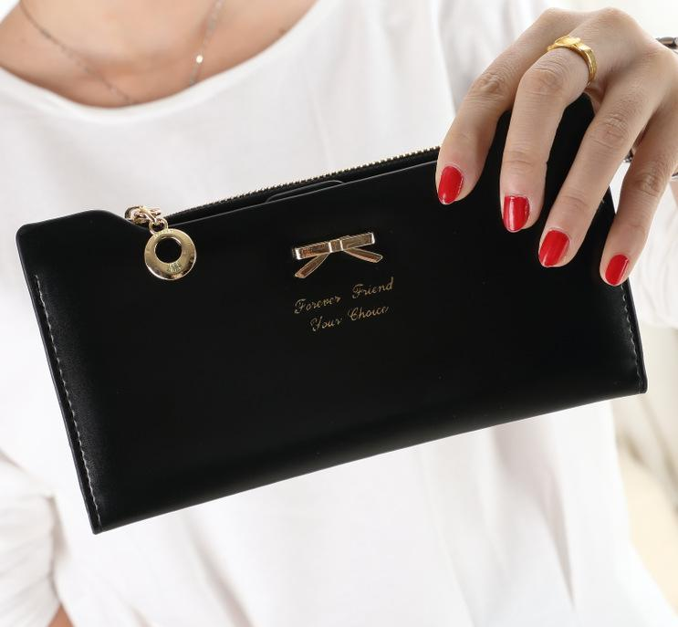 7 Color 2015 New Cute Sweet Bright Leather Bow Plug Lady Long Wallet Wallet Multi Card