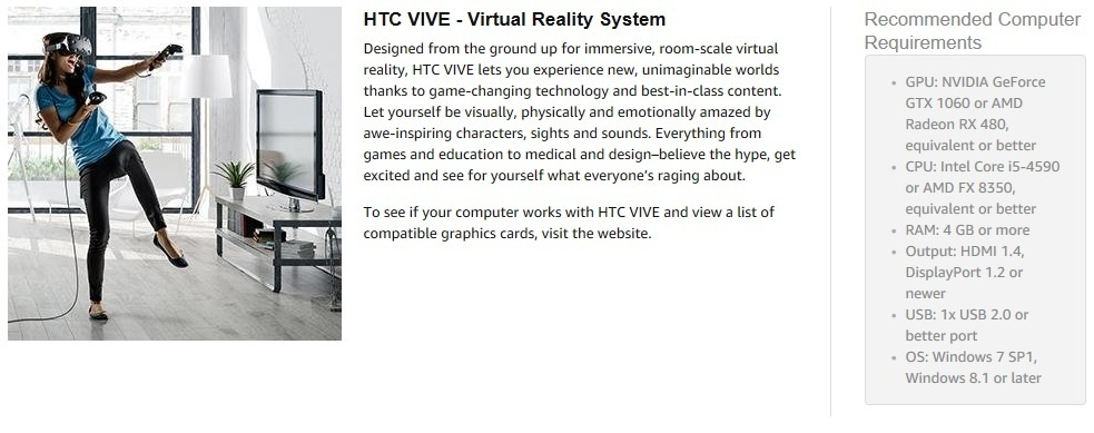 HTC VIVE Virtual Reality System - intl