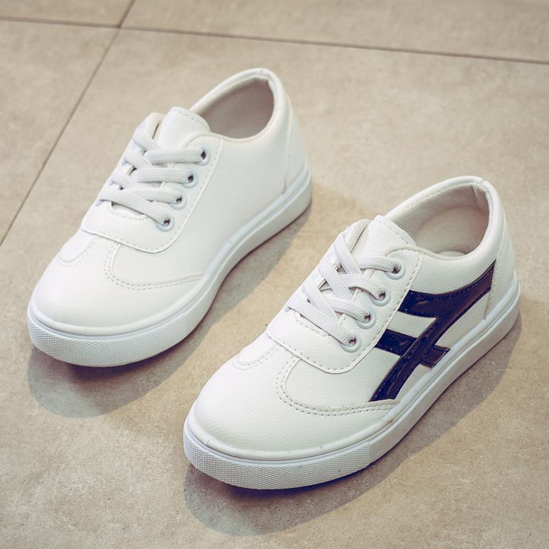 Sepatu putih kecil anak-anak sepatu kasual Gaya Korea warna putih-laki laki