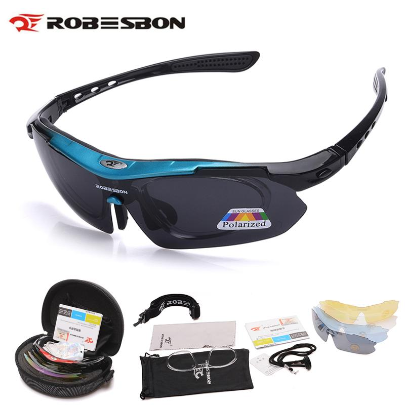 d1473602d32 ROBESBON Polarized Cycling Glasses Men MTB Sunglasses free 5 lens(blue)