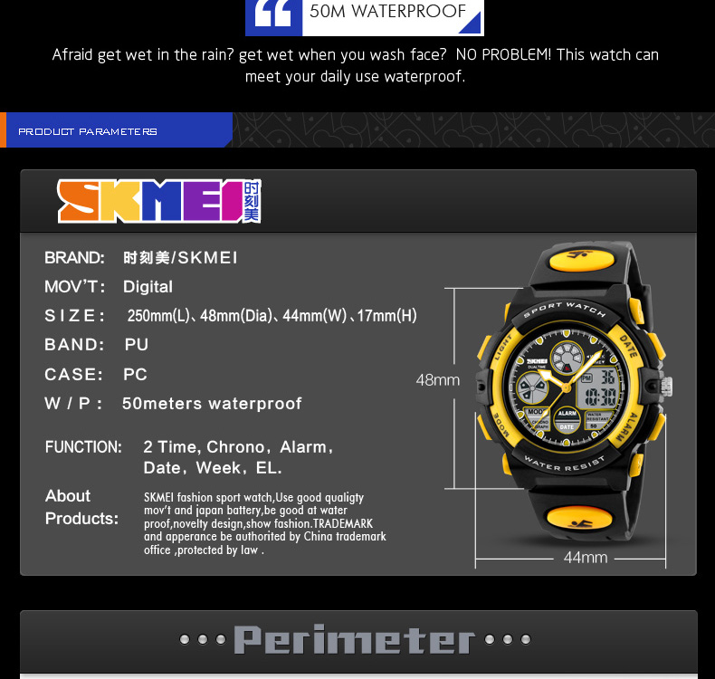 Specifications of SKMEI Kids Sports Watches Children For Girls Boys Waterproof Military Dual Display Wristwatches LED Waterproof Watch 1163. Brand