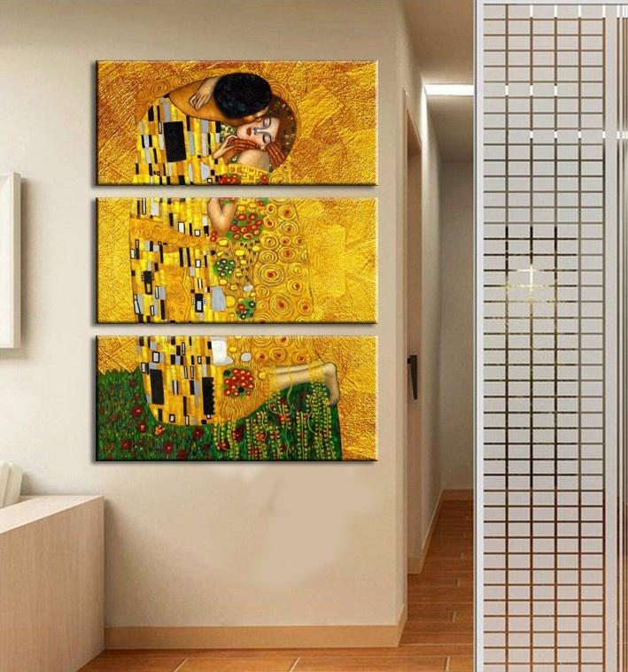Chenxi 40x60cm 3 Panels Gustav Klimt Printed Oil Painting on Canvas ...