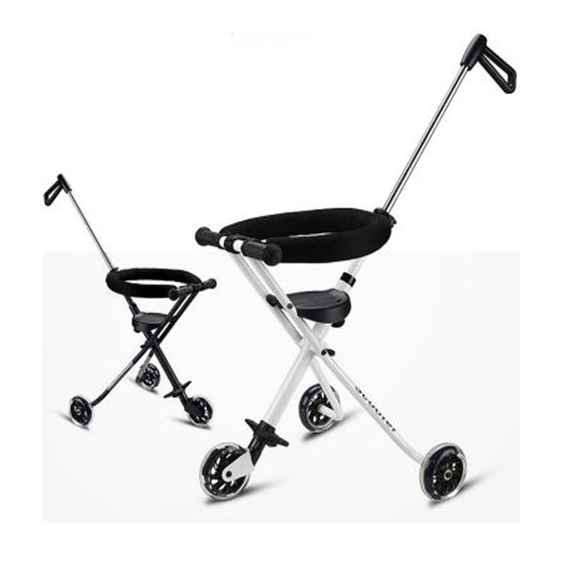 Melzki Folding Tricycle Trolley Stroller Portable Travel Super Light Stroller Handbar Pram Pushchair 3 Wheels Baby Child Tricycle 1- 3y (black/white) By Melzki Store.