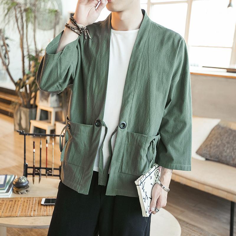 b4414614a ... Musim semi model Jepang Retro gaya Tiongkok longgar ukuran besar  kardigan kimono model tipis Jaket lengan ...