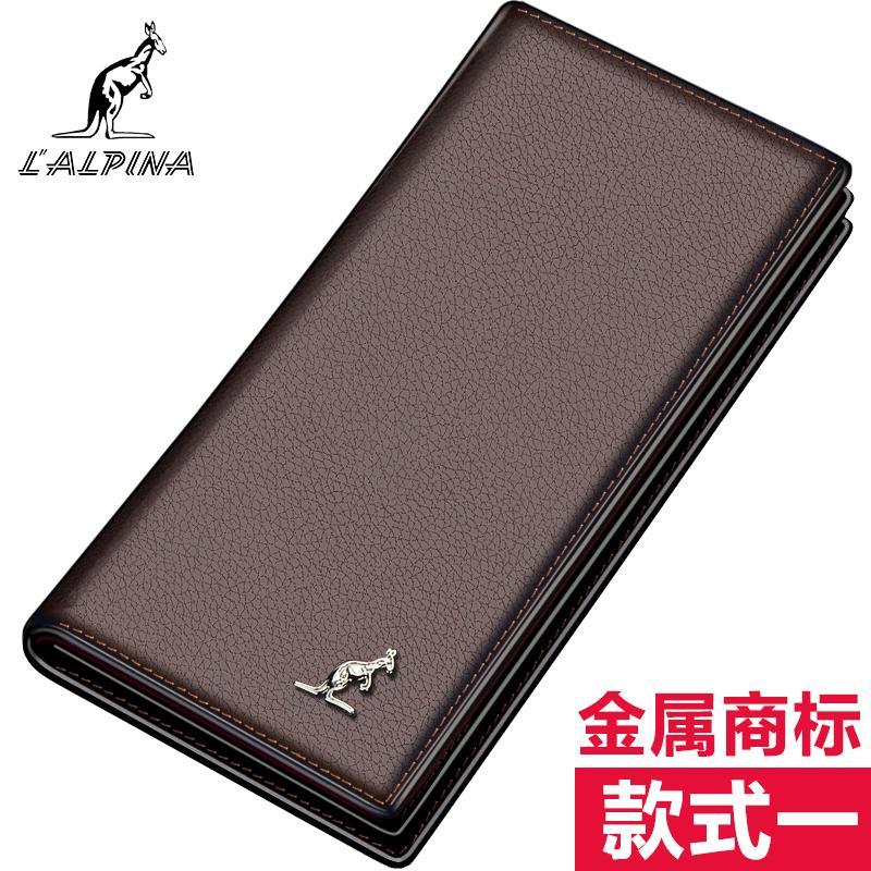 L'ALPINA Daishu dompet model panjang Pria Kulit asli Produk Asli anak muda lapisan pertama dompet kulit sapi bisnis Dompet pasang