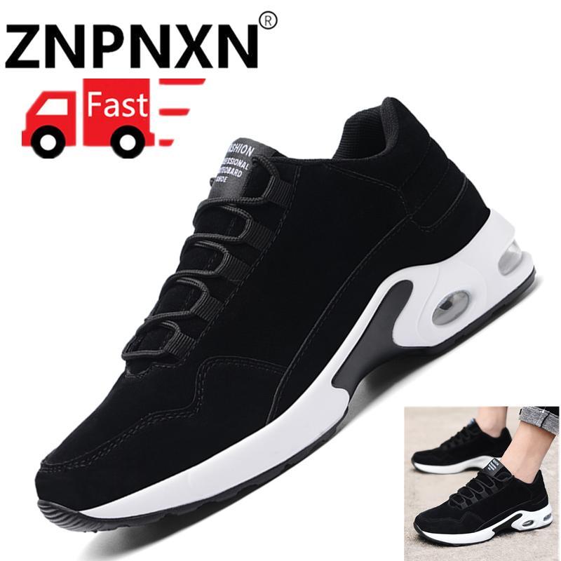 ZNPNXN Fashion Men Flat Shoes Spring Platform Casual Shoes Men Casual Sport Shoes (Black And White)