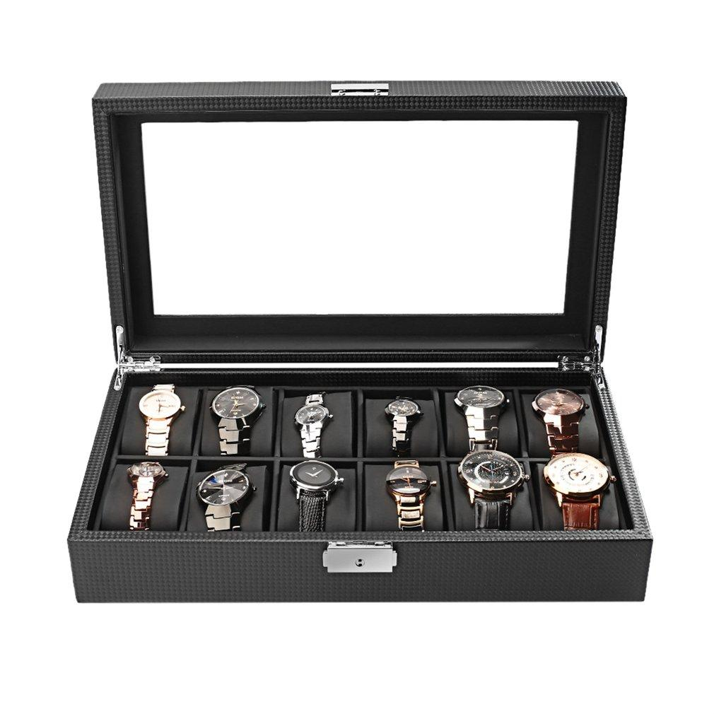 12 Slots Jewelry Display Watch Box Storage Holder Glass Window Top Organizer