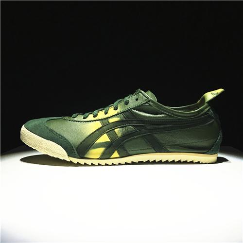 """bef251bb8673 Asics Official """"ONITSUKA TIGER"""" MEN Running Shoe Mexico 66 Deluxe Green  Yellow Global Sales"""