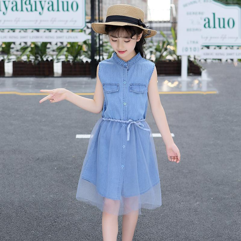 Trẻ Em Nữ Mùa Hè 2019 Mẫu Mới Của Cô Gái Vải Bò Váy Liền Trẻ Em Mùa Hè Váy Công Chúa Bé Gái Phong Cách Tây Váy Nhật Bản