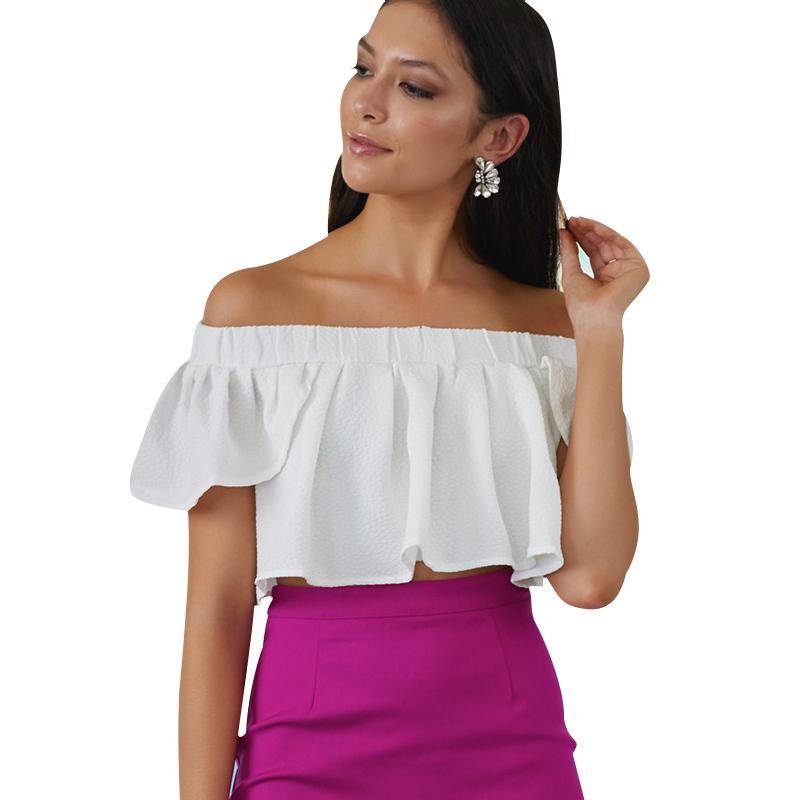 Kenancy New Gamissring SuGamisser Elegant Women Sexy Off-Shoulder Sleeves Casual Short Blouse Crop Tops
