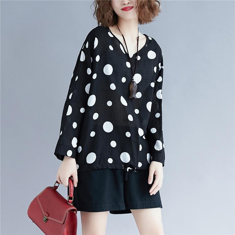 Gaya Barat ukuran besar baju wanita mm musim gugur Retro Polkadot Kerah V kaus T berkerah