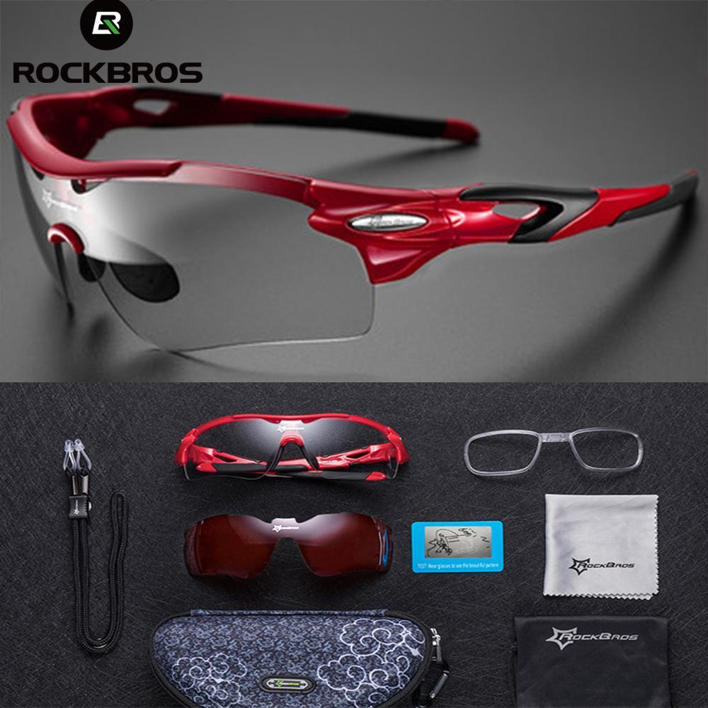 ROCKBROS Polarized Photochromic Cycling Glasses Bike Glasses Outdoor Sports MTB Bicycle Sunglasses Goggles Eyewear Myopia Frame