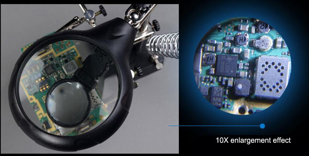 5 Led Light 10x Magnifier Desk Lamp Repair Clamp Desktop