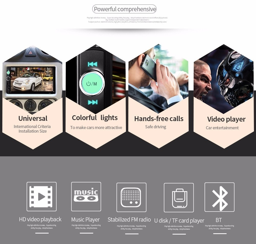 7010B 7 Inch Bluetooth V2 0 TFT Screen 12V Car Audio Stereo MP5 Player Auto  Video with Rearview Camera - intl