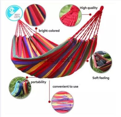 Portable Cotton Rope Outdoor Hammock Duyan(red) By Happy Brother.