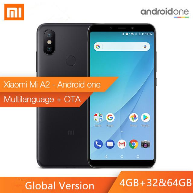 Global Version Xiaomi Mi A2 Mobile Phone 5.99 FHD+ 18:9 Full Screen Display Snapdragon 660 Octa Core Smartphone 20.Dual AI Cameras Android One