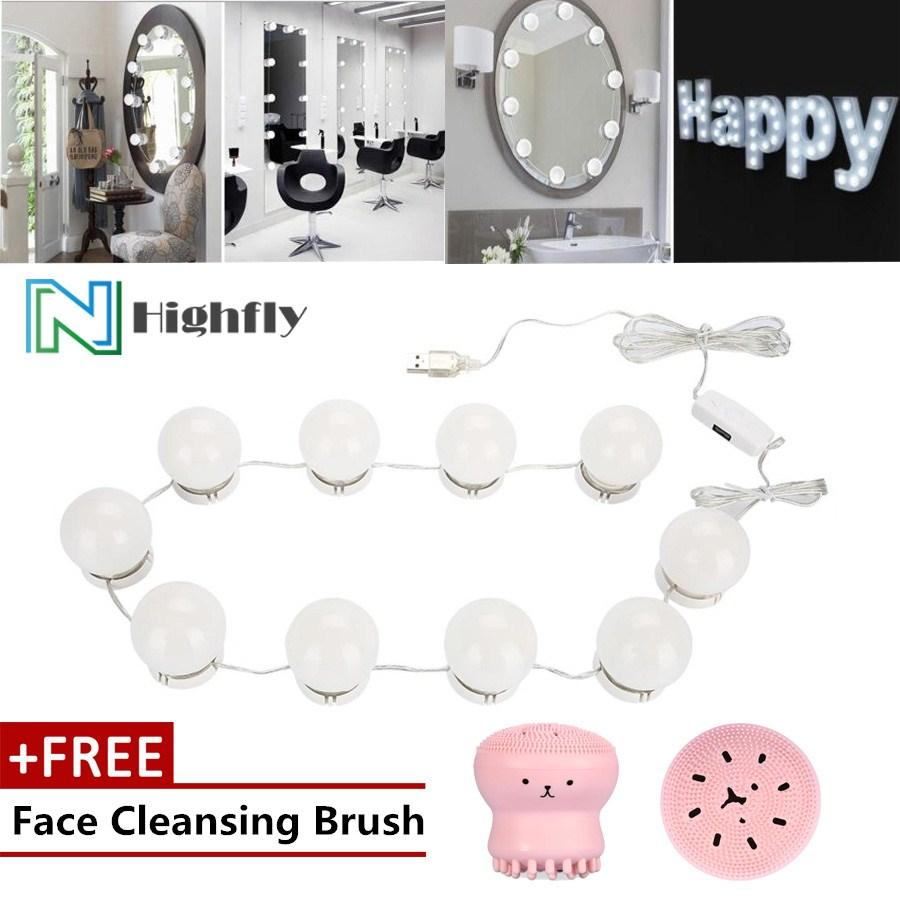【Free Gift】LED Bulb Mirror Light Vanity Mirror Lamp Kit Lens Headlight Bulbs Kit (10 Bulbs) - intl Philippines