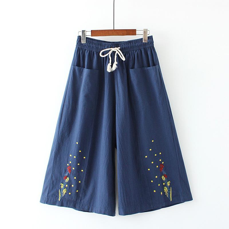 MM Celana 3/4 Ukuran Besar Kulot Kain Linen Wanita
