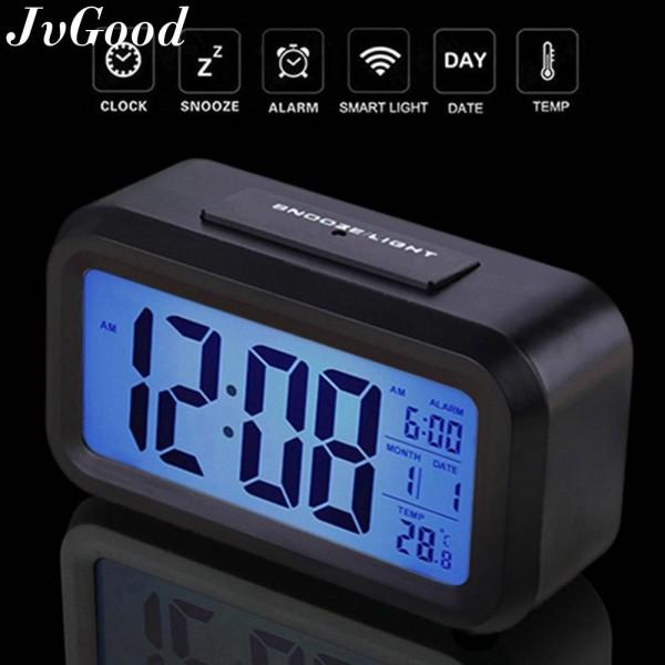 JvGood Đồng hồ có màn hình đèn led kiêm đèn ngủ màn hình 4.6 inch cảm biến ánh sáng sử dụng pin Dimmer hiển thị nhiệt độ phòng và có chức năng báo lại (màu đen) - INTL bán chạy