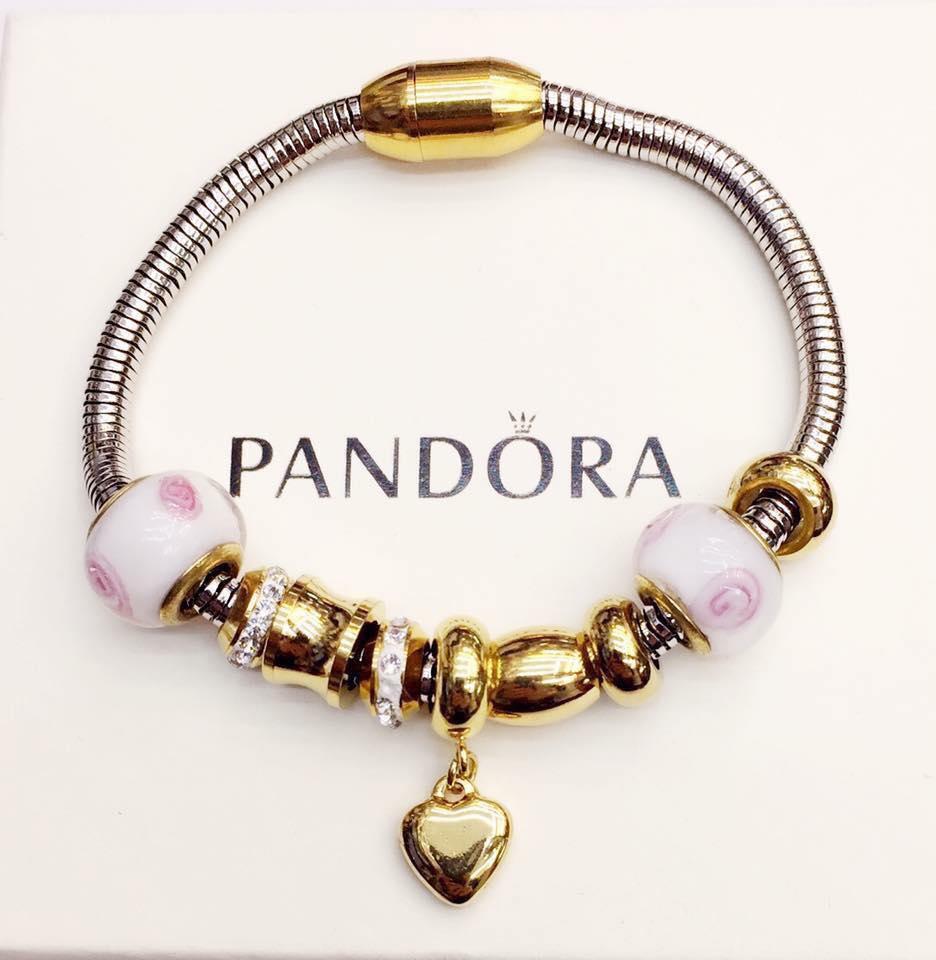 Pandora Bracelet 18k Gold Mixed Heart Pendant Design