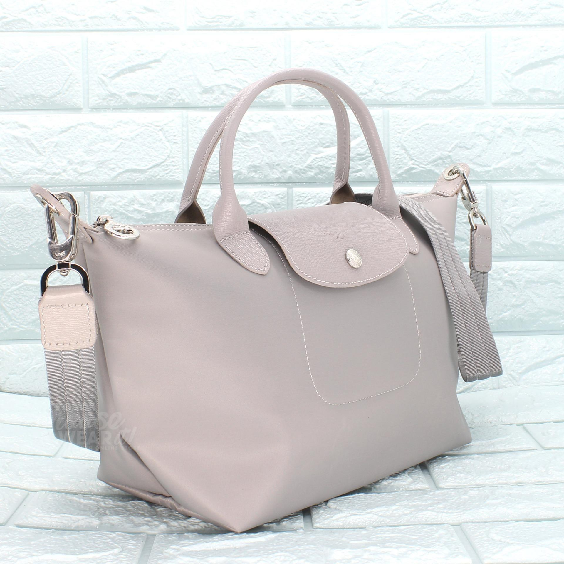 22a479a5daac Authentic Longchamp Made in France Small Le Pliage Neo Top Handle Tote -  Light Gray