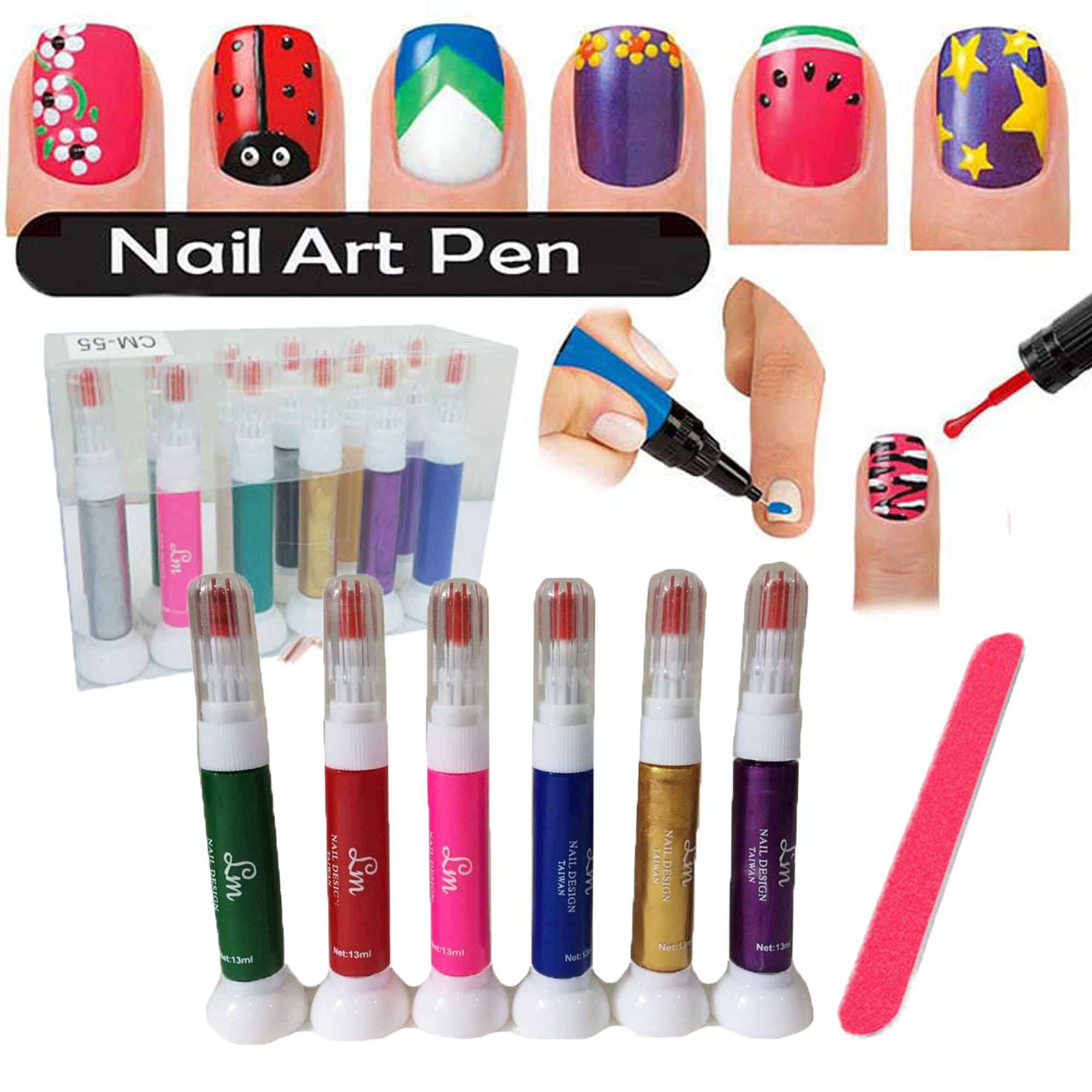 6 Colors 2-in-1 Brush and Art Pen Set Nail Art Pen for 3D Nail Art DIY Decoration Nail Polish Pen Set FREE Nail File 227g Philippines