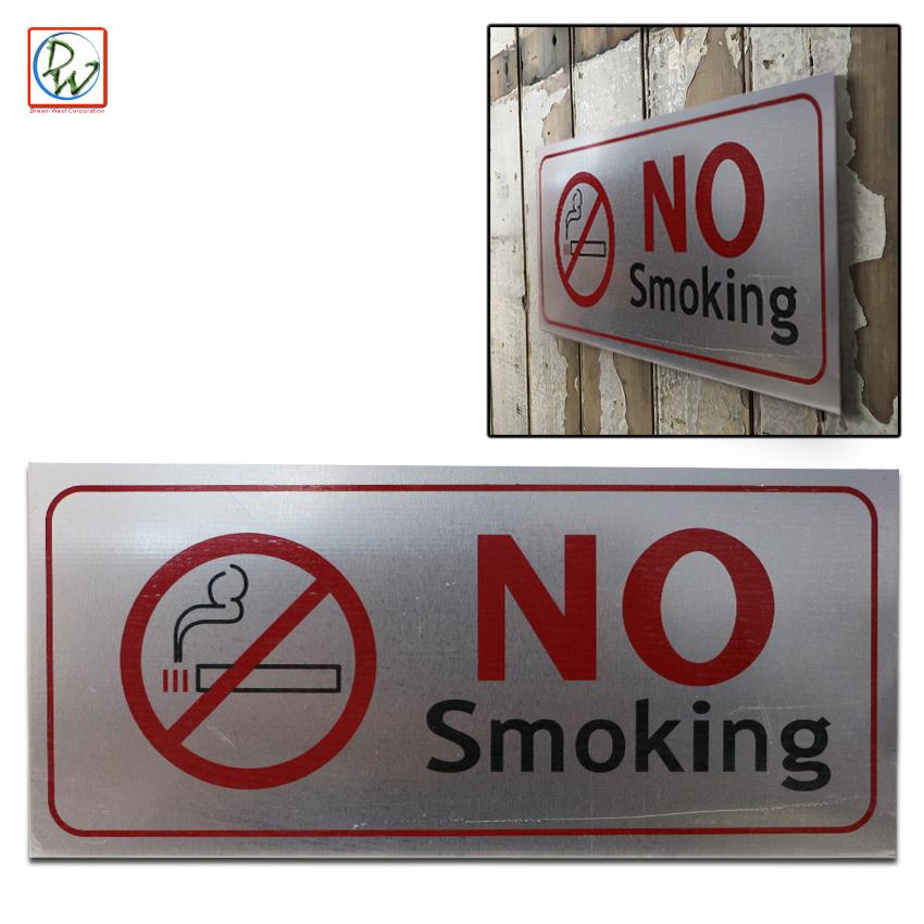 No smoking sign aluminium plaque shop office self adhesive sticker warning safety sign