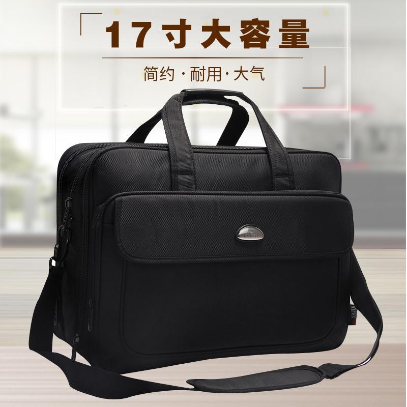 Paket Pria Oxford Kain Tas Tangan Bisnis Kapasitas Besar Horizontal Gaya Briefcase Daftar Bahu Tas Laptop 17 Inch Bekerja Pembungkus seorang Pria-Internasional