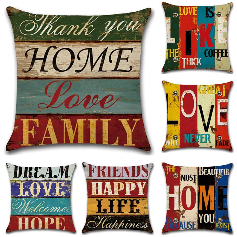 c99ad21a8722 GZ Set of 6 Vintage Proverbs Mediterranean hand drawn letters Throw Sofa Pillow  Case Cushion Cover
