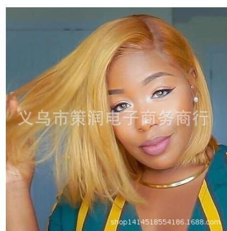 Wig wig serat kimia wanita di rambut pendek rambut lurus pendek WISH rambut palsu Amazon tempat pabrik