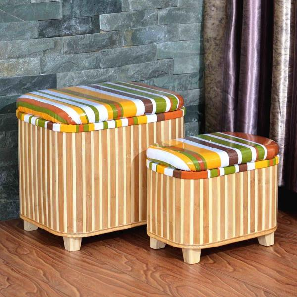 Bamboo Weaving Storage Sofa Storage Stool to Sit Adult Storage Chair Footstool Multi-functional Shoes Stool Storage Box