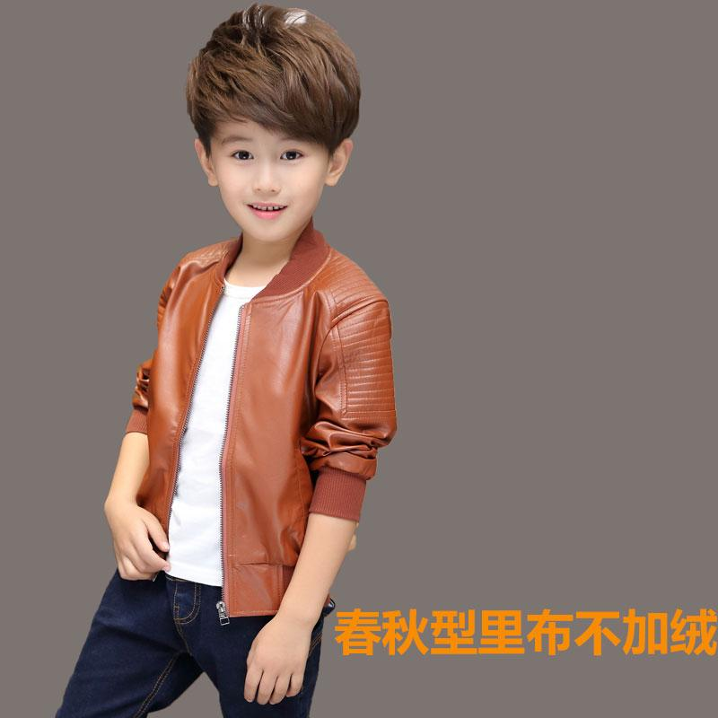 90b6f609b Childrenswear Boy's Leather Jacket Coat 2019 Children Spring And Autumn  Jacket Winter Brushed And Thick Coat