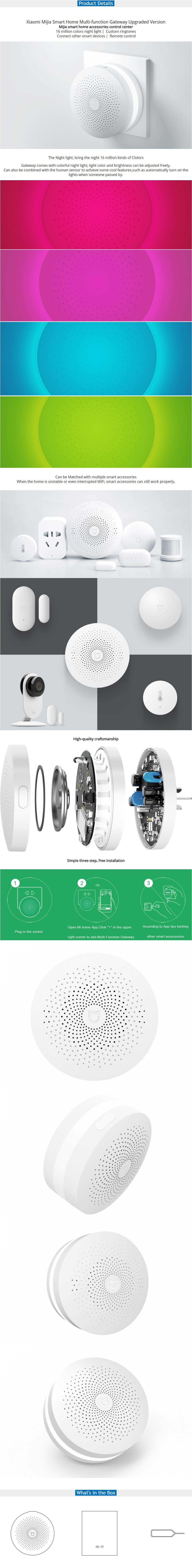 Mijia Smart Home Multi-function Gateway Upgraded ZigBee WiFi Motion