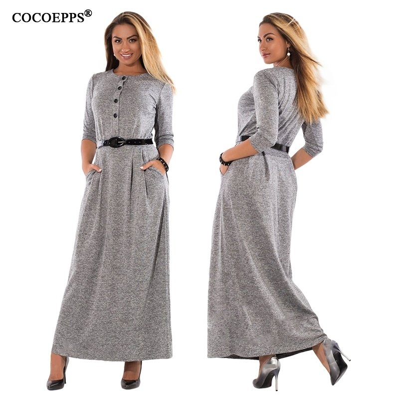 d8ee2e3ebd2e Specifications of COCOEPPS 5XL 6XL Large Size Fashion Long Dresses Autumn  Elegant Plus Size Women Clothing Winter Warm Maxi Dress Office Vestidos -  intl
