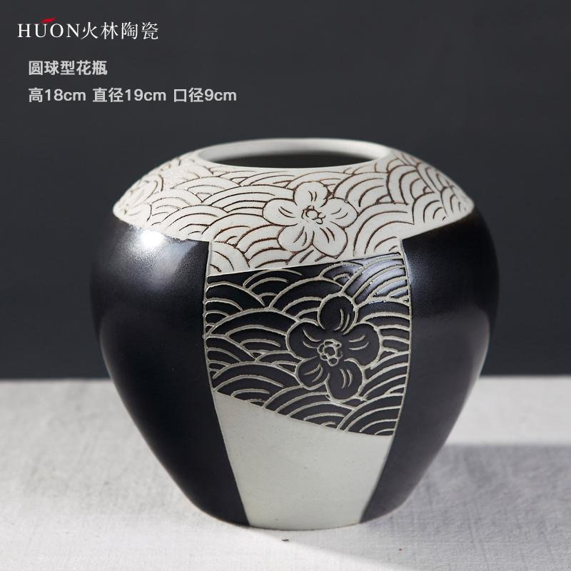 Modern Minimalist Ceramic Vase Dried Flower Container Decoration New Chinese Style Northern Europe Living Room Television Wine Cabinet 58 Accessories