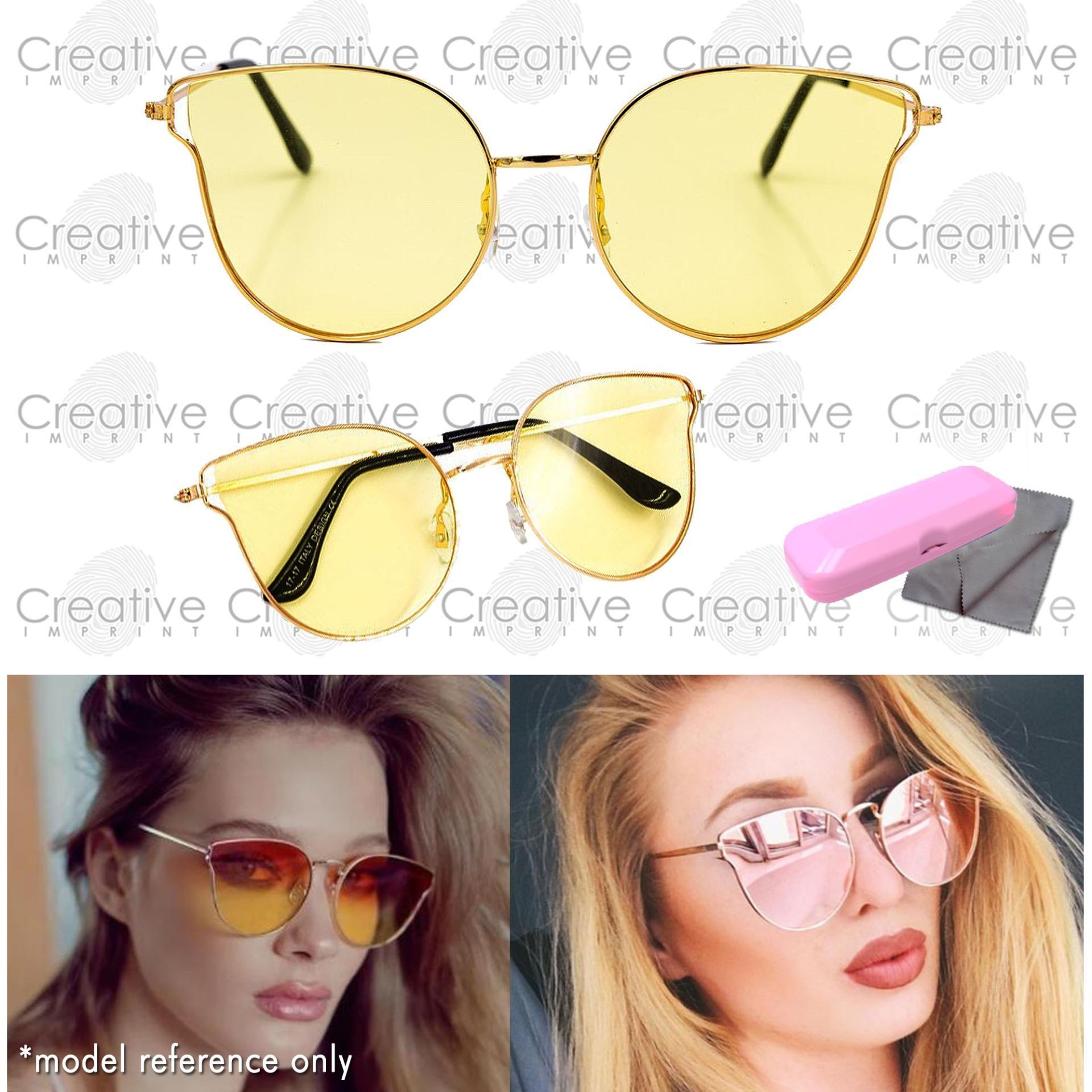 e40928520b7 Creative Imprint Cat Eye Mirror Lens Coated Light Metal Frame High Fashion  Trendy Korean Sunglasses Shades