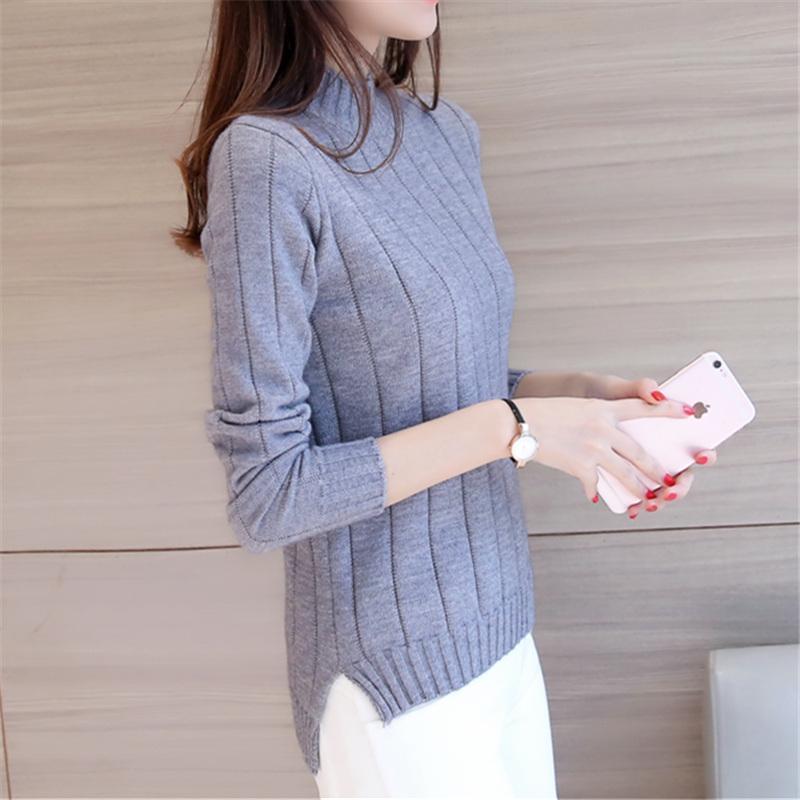 Musim gugur musim dingin model baru pakaian wanita Gaya Korea Depan Pendek Belakang Panjang belahan Kemeja rajut Lebih tebal Baju Dalaman kerah setengah tinggi sweaster pulover pasang - 4