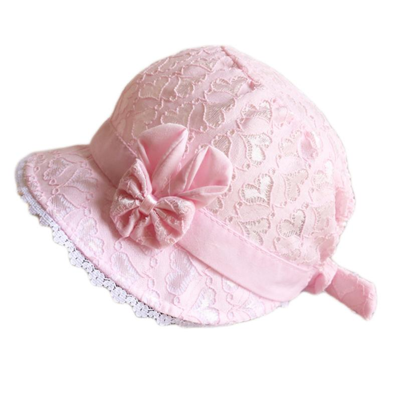 Summer Cute Princess Baby Hat With Bow Solid Color Lace Hollow Baby Girl Cap  Toddler Kids 5f6c7c887e56