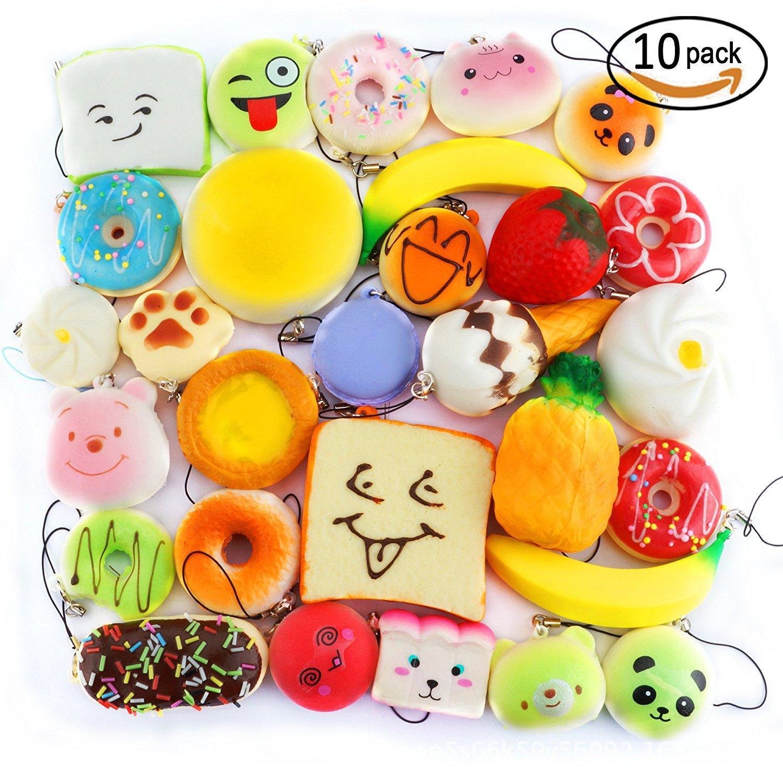 10pcs Random Kawaii Mini Soft Squishy Foods Doughnut Lovely Cake Cute Bread Phone Straps key chains
