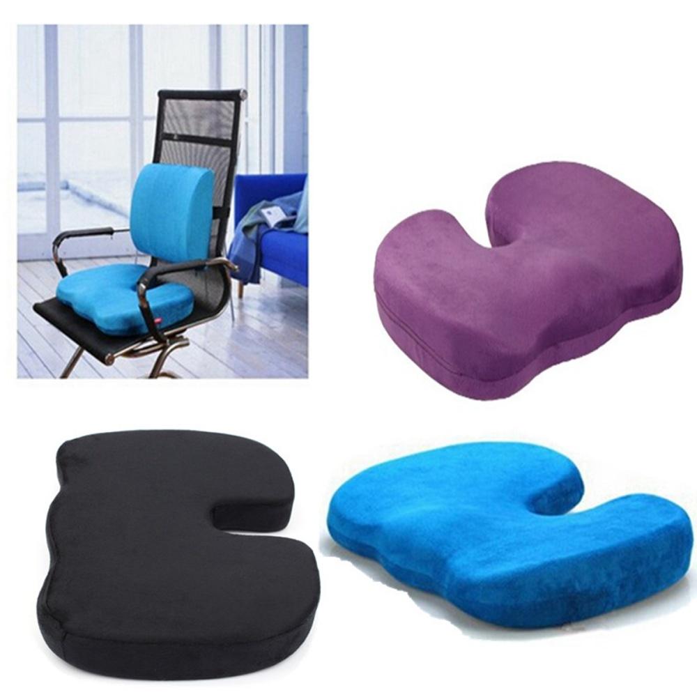 Office Chair Orthopedic Seat Cushion Release Pillow Memory Foam Black