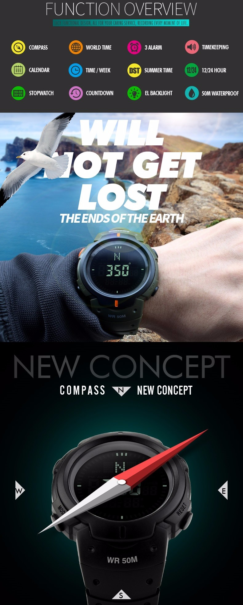 Skmei Men Sports Watches Compass Chronograph Hiking Led Digital Electronic Outdoor Wristwatches Relogio Masculino Man Clock 1231 Watches Digital Watches