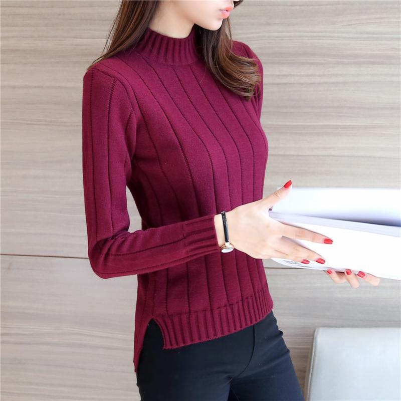 Musim gugur musim dingin model baru pakaian wanita Gaya Korea Depan Pendek Belakang Panjang belahan Kemeja rajut Lebih tebal Baju Dalaman kerah setengah tinggi sweaster pulover pasang - 3
