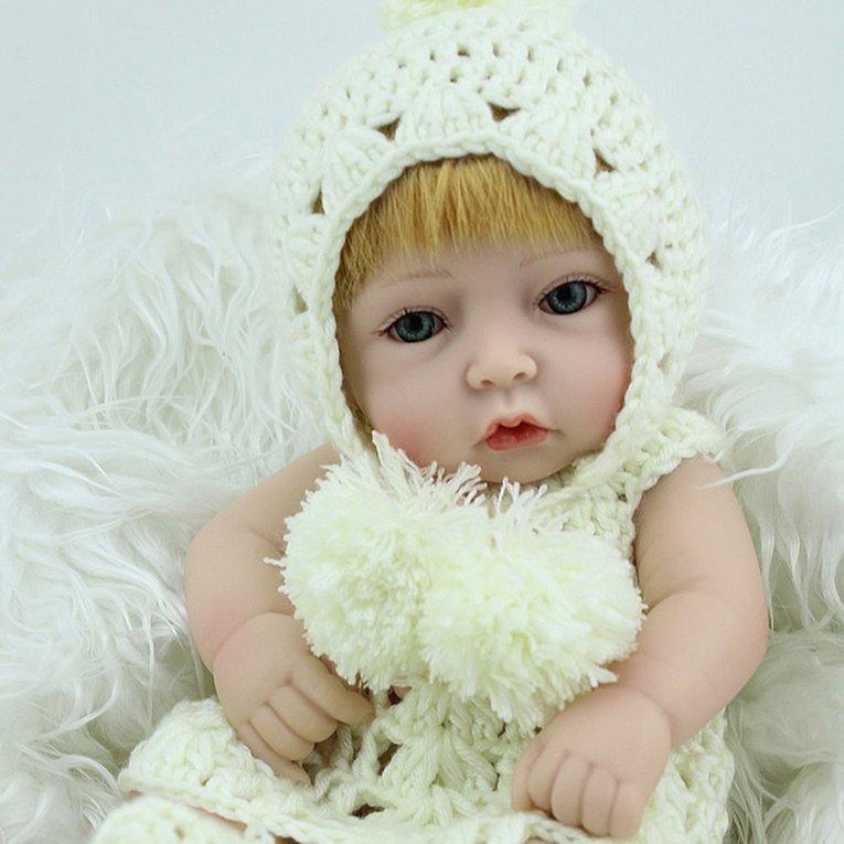 28 Cm Unik Rambut Kuning Reborn Boneka Bayi Lembut Nampak Hidup Vinil Boneka Bayi Baru Lahir