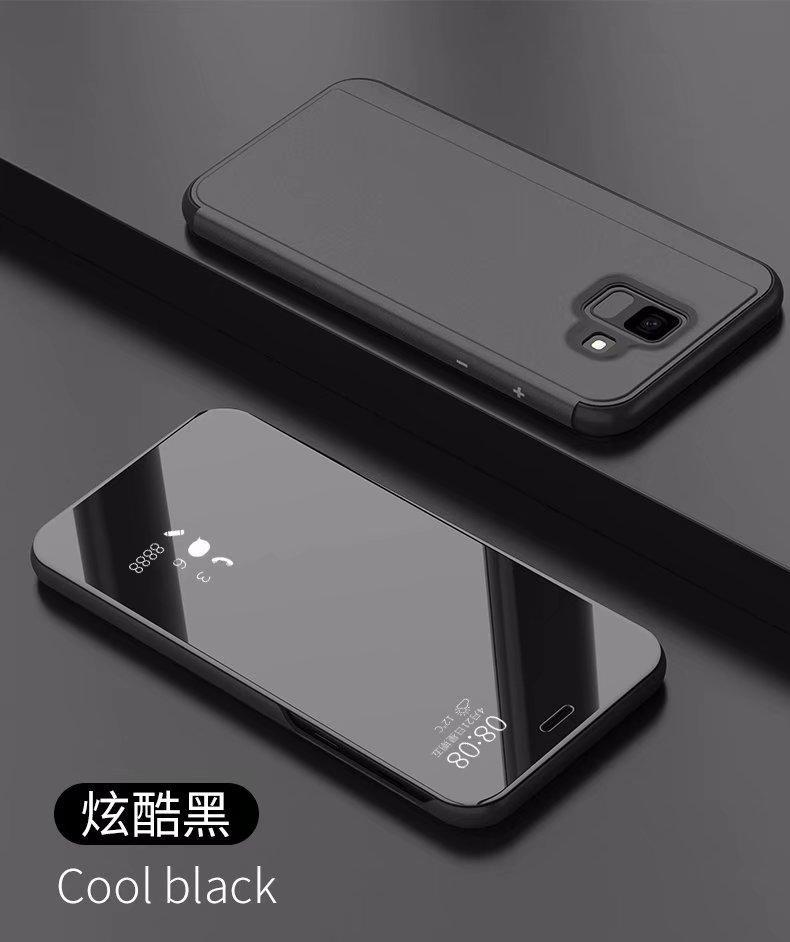 Samsung GALAXY A6 Plus 2018 Flip Cover fashion Tidur Otomatis Pintar dan Bangun Fungsi Jendela Bening Lihat Cermin Depan Desain Flip Penutup Berbahan Kulit Case untuk Samsung Galaxy A6 Plus 2018